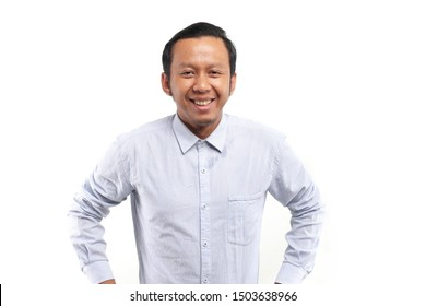 vietnam business man standing isolated on white background.