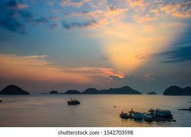 Vietnam Cat Ba bay at sunset with floating fishing boats on sea, cloudscape tropical weather, city skyline and skyscraper, scenic green mountain.