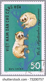 VIETNAM - CIRCA 1965: A stamp printed in Vietnam shows Pygmy Slow Loris or Nycticebus pygmaeus, series is devoted to wild animals, circa 1965