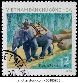 VIETNAM - CIRCA 1973: A post stamp printed in Vietnam and shows man on elephant outside,series. Circa 1973