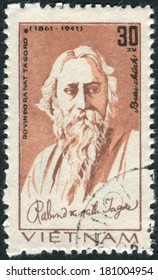 VIETNAM - CIRCA 1982: Postage stamp printed in Vietnam, shows Rabindranath Tagore, Indian poet, circa 1982