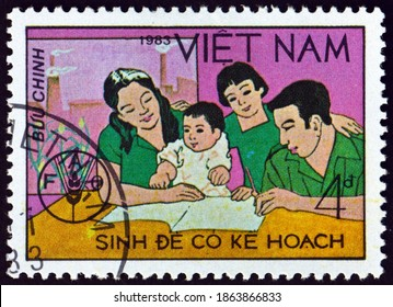 VIETNAM - CIRCA 1983: a stamp printed in Vietnam shows Family, World Food Day, circa 1983
