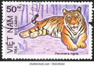 "VIETNAM - CIRCA 1984: A stamp printed in Vietnam shows a tiger (Panthera tigris), the series ""Protected Animals"", circa 1984"