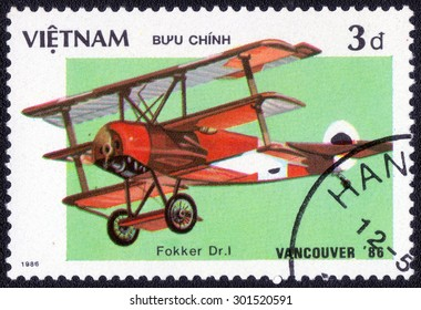 "VIETNAM - CIRCA 1986: A stamp printed in Vietnam shows a series of images "" History of aeronautics"", circa 1986"