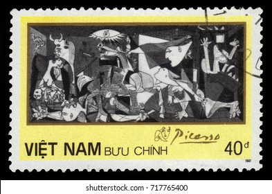 "Vietnam - CIRCA 1987: A stamp printed in Vietnam shows ""Gernica"", painting by Picasso, circa 1987"