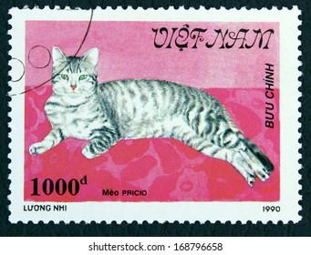 VIETNAM - CIRCA 1990: A stamp printed in the Vietnam, shows the cat, circa 1990
