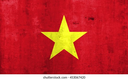 Vietnam country flag. with grunge wall texture background.