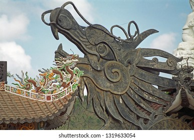 Vietnam, Da Lat, Linh Phuoc pagoda decorations.