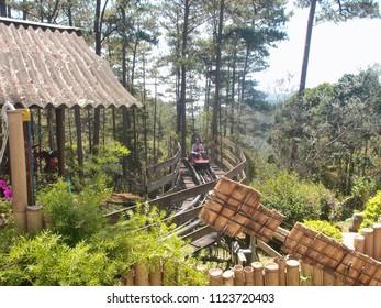 VIETNAM, DALAT - MARCH 25, 2018: Electric sleigh ride on rails through the jungle of Vietnam