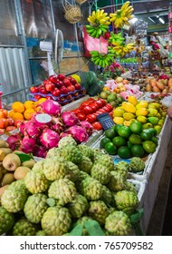Vietnam. DEC 1, 2014.  Exotic fruits in the Asian market in Vietnam
