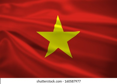 Vietnam flag blowing in the wind. Background texture.