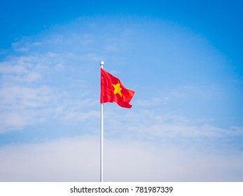 Vietnam flag in the blue sky