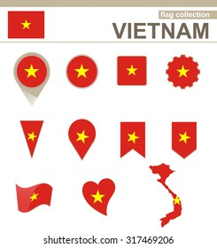 Vietnam Flag Collection, 12 versions, Rasterized Copy