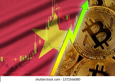 Vietnam flag and cryptocurrency growing trend with many golden bitcoins