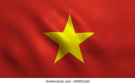 Vietnam flag with fabric texture.