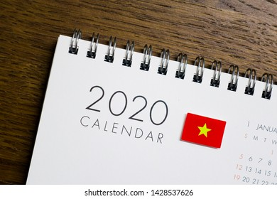 Vietnam Flag on 2020 Calendar