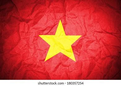 Vietnam flag on crumpled paper