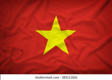 Vietnam flag on the fabric texture background,Vintage style