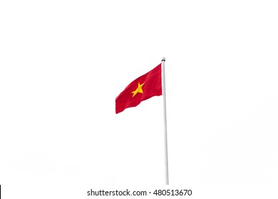 Vietnam flag on metal post isolated on white background