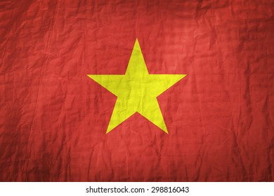 Vietnam flag painted on a Fabric creases,retro vintage style