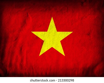 Vietnam flag and red wall background