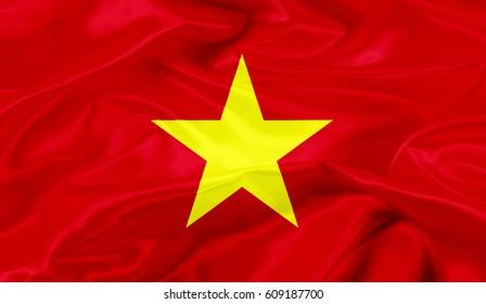 Vietnam flag of silk-3D illustration