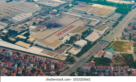Vietnam, Hanoi, December 4, 2016: Aerial view on Honda factory in Vietnam