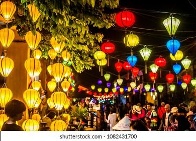 VIETNAM, HANOI - FEBRUARY 14, 2017: Thousands of bright and colorful lanterns decorating the evening old streets of the Vietnamese city of Hoi An.