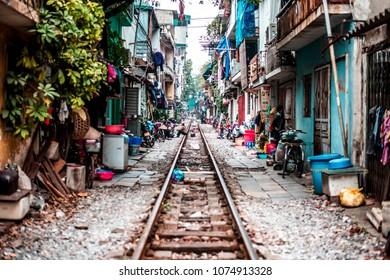 VIETNAM, HANOI - JANUARY 19, 2017: Old slums on the railway, village in the city of Hanoi.