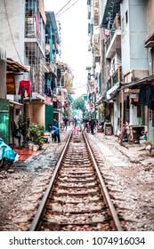 VIETNAM, HANOI - JANUARY 19, 2017: The old village on the railway, the Vietnamese slums.