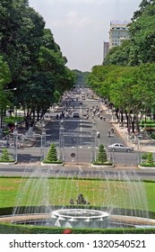 VIETNAM, HO CHI MINH – JANUARY 15, 2001:  Le Duan road in front of the Reunification Palace. Typical place to visit.