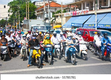 VIETNAM - JUNE 10 : A congested road with motorist on Ho Chi Minh street in Vietnam. June 10, 2010 Ho Chi Minh City, Vietnam