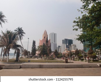 VIETNAM, NHA TRANG - MARCH 29, 2018: City of Nha Trang cityscape with high buildings and skyscrapers. Asian town business center landscape.