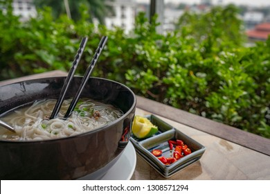 Vietnam Pho Bo soup in a pot
