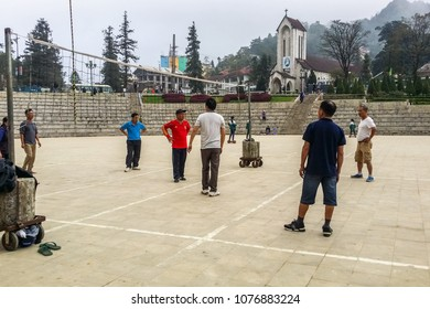 VIETNAM, SAPA - NOVEMBER 17: Vietnam people playing volleybal outside at November 17, 2016 in Sapa, Vietnam