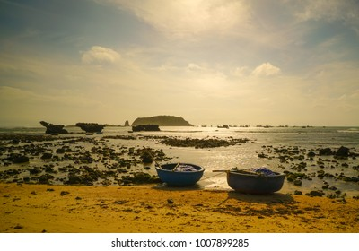 Vietnam Seaside view with round fishing boats