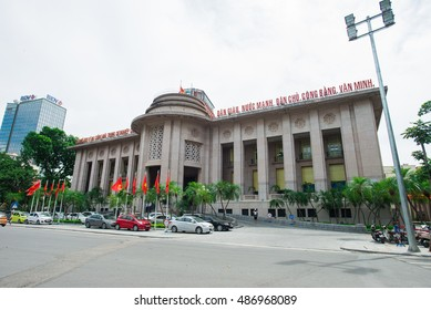 Vietnam state bank headquarters with flag in Independence anniversary Vietnam September 2, 2016. The State Bank of Vietnam is the central bank of Vietnam and known as the Indochina Bank in the past.