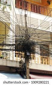 Vietnam telecomunications wires. Hanoi street