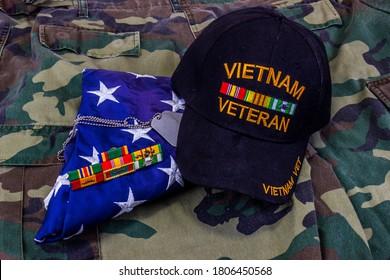 Vietnam Vet Hat, American Flag And Service Ribbons On Jungle Green Uniform