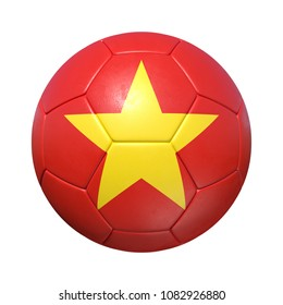 Vietnam Vietnamese soccer ball with national flag. Isolated on white background. 3D Rendering, Illustration.