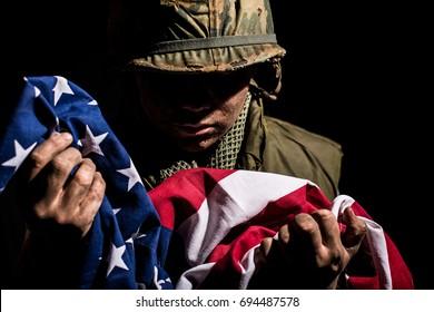 Vietnam War US Marine With American National Flag