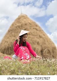 Vietnam woman at meadow
