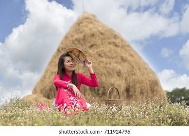 Vietnam woman in meadow