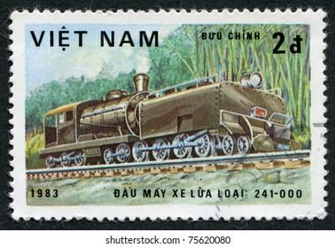 VIETNAM-CIRCA 1983: A stamp printed in the Vietnam, shows steam locomotive, Class 241-000, circa 1983