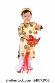 5ca9f054e Vietnamese boy cuddling stuffed carp. Portrait of a handsome Asian baby boy  on traditional festival
