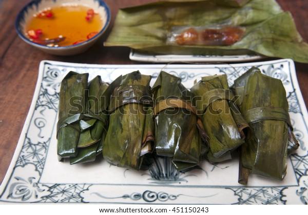 Vietnamese Cake Shrimp Pork Inside Wrapped Backgrounds Textures Stock Image 451150243