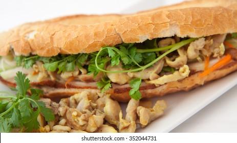 vietnamese chicken pork bacon baguette -  banh mi