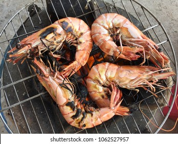 Vietnamese cuisine: grilled shrimp, black tiger shrimp Penaeus monodon