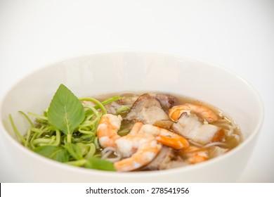 Vietnamese Cuisine - Rice Vermicelli Soup with Fermented Fish, Prawns, and Pork (Bun Mam)