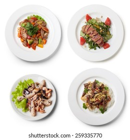 Vietnamese dishes, view from above, isolated on white background